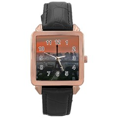 Paris France French Eiffel Tower Rose Gold Leather Watch