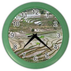 Rice Fields Terraced Terrace Color Wall Clocks