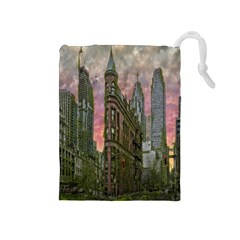 Flat Iron Building Toronto Ontario Drawstring Pouches (medium)