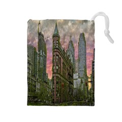 Flat Iron Building Toronto Ontario Drawstring Pouches (large)