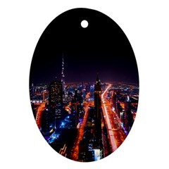 Dubai Cityscape Emirates Travel Oval Ornament (two Sides)