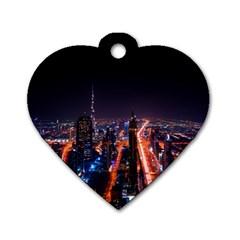 Dubai Cityscape Emirates Travel Dog Tag Heart (one Side)