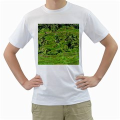 Greenery Paddy Fields Rice Crops Men s T Shirt (white) (two Sided)