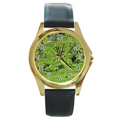 Greenery Paddy Fields Rice Crops Round Gold Metal Watch