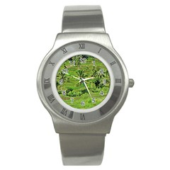 Greenery Paddy Fields Rice Crops Stainless Steel Watch