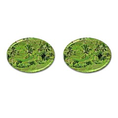 Greenery Paddy Fields Rice Crops Cufflinks (oval)