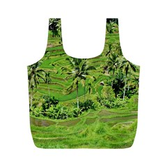 Greenery Paddy Fields Rice Crops Full Print Recycle Bags (m)
