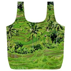 Greenery Paddy Fields Rice Crops Full Print Recycle Bags (l)