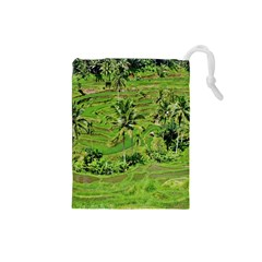 Greenery Paddy Fields Rice Crops Drawstring Pouches (small)