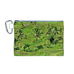 Greenery Paddy Fields Rice Crops Canvas Cosmetic Bag (m)