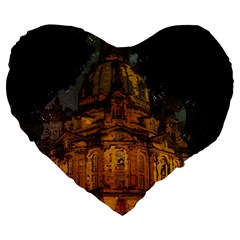 Dresden Frauenkirche Church Saxony Large 19  Premium Flano Heart Shape Cushions