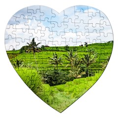 Bali Rice Terraces Landscape Rice Jigsaw Puzzle (heart)