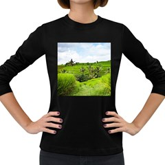 Bali Rice Terraces Landscape Rice Women s Long Sleeve Dark T Shirts