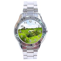 Bali Rice Terraces Landscape Rice Stainless Steel Analogue Watch