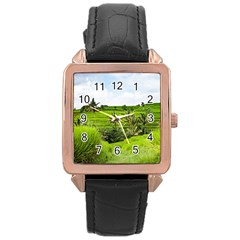 Bali Rice Terraces Landscape Rice Rose Gold Leather Watch