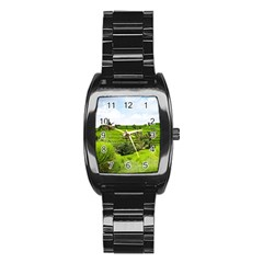 Bali Rice Terraces Landscape Rice Stainless Steel Barrel Watch