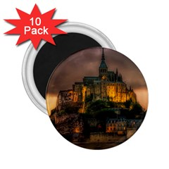 Mont St Michel Sunset Island Church 2 25  Magnets (10 Pack)