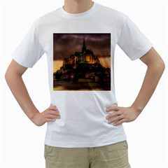 Mont St Michel Sunset Island Church Men s T Shirt (white) (two Sided)