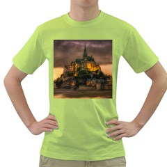 Mont St Michel Sunset Island Church Green T Shirt