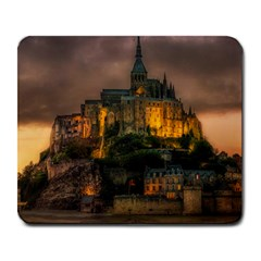 Mont St Michel Sunset Island Church Large Mousepads