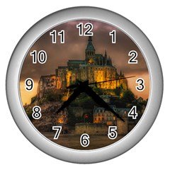 Mont St Michel Sunset Island Church Wall Clocks (silver)