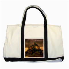 Mont St Michel Sunset Island Church Two Tone Tote Bag