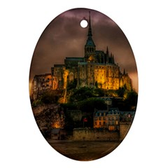Mont St Michel Sunset Island Church Oval Ornament (two Sides)
