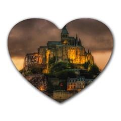 Mont St Michel Sunset Island Church Heart Mousepads