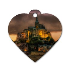 Mont St Michel Sunset Island Church Dog Tag Heart (two Sides)