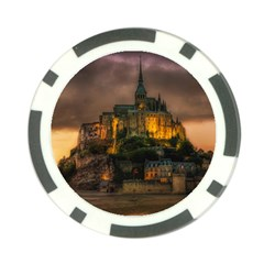 Mont St Michel Sunset Island Church Poker Chip Card Guard (10 Pack)