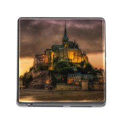 Mont St Michel Sunset Island Church Memory Card Reader (square)