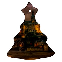 Mont St Michel Sunset Island Church Christmas Tree Ornament (two Sides)