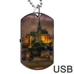 Mont St Michel Sunset Island Church Dog Tag Usb Flash (two Sides)