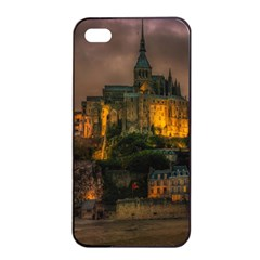 Mont St Michel Sunset Island Church Apple Iphone 4/4s Seamless Case (black)
