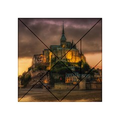 Mont St Michel Sunset Island Church Acrylic Tangram Puzzle (4  X 4 )