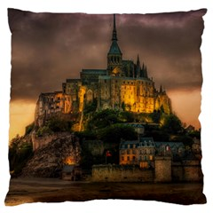 Mont St Michel Sunset Island Church Large Cushion Case (two Sides)