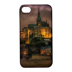 Mont St Michel Sunset Island Church Apple Iphone 4/4s Hardshell Case With Stand