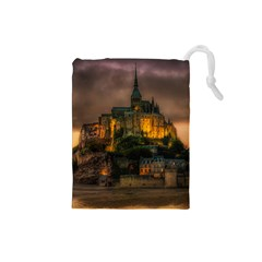 Mont St Michel Sunset Island Church Drawstring Pouches (small)