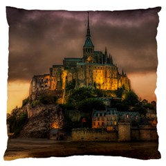 Mont St Michel Sunset Island Church Large Flano Cushion Case (two Sides)