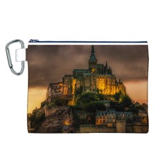 Mont St Michel Sunset Island Church Canvas Cosmetic Bag (l)