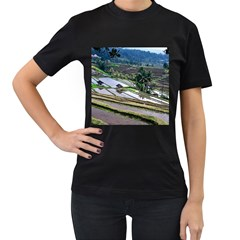 Rice Terrace Rice Fields Women s T Shirt (black) (two Sided)