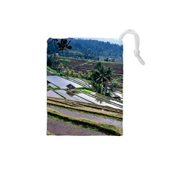 Rice Terrace Rice Fields Drawstring Pouches (small)