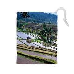 Rice Terrace Rice Fields Drawstring Pouches (large)