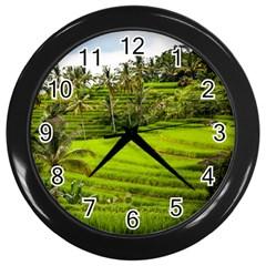 Rice Terrace Terraces Wall Clocks (black)