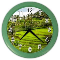 Rice Terrace Terraces Color Wall Clocks