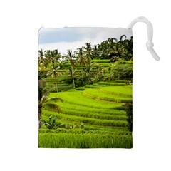 Rice Terrace Terraces Drawstring Pouches (large)