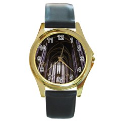 Sainte Chapelle Paris Stained Glass Round Gold Metal Watch