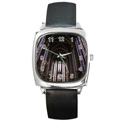 Sainte Chapelle Paris Stained Glass Square Metal Watch