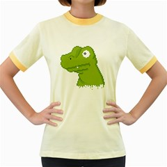 Drippy Pixel T Rex Head Women s Fitted Ringer T Shirts