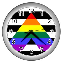 Straight Ally Flag Wall Clocks (silver)